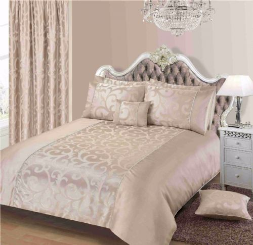 Champagne Colour Stylish Floral Scroll Jacquard Duvet Cover Luxury Beautiful Designer Bedding